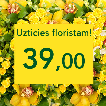 Ziedu piegāde Rīgā. Uzticies floristam! Izveidosim skaistu pušķi dzeltenos toņos izvēlētās summas ietvaros. Pārsteigums un