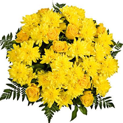 Ziedu piegāde. Dzeltenas rozes un dzltenas krizantēmas viena otru lieliski papildina šajā košajā ziedu pušķī.  Ziedu