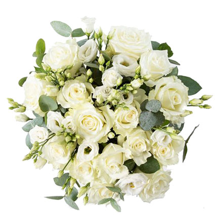 Bouquet of 15 white roses and 9 white lisianthus with decorative eucalyptus