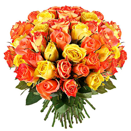 Flowers on-line. Joyful bouquet of 41 or 21 orange and yellow roses. Rose stem lenght 50 - 60 cm.