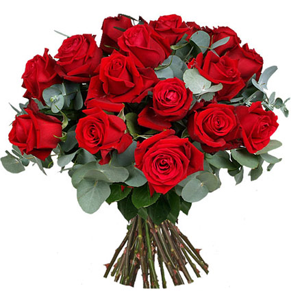 Flowers delivery. Bouquet of 15 red roses and decorative foliage.