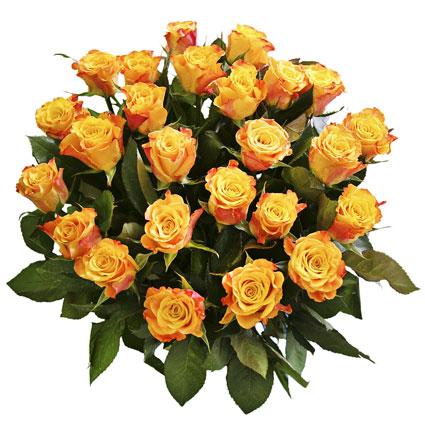 Ziedu veikals. Pušķī 25 oranži dzeltenas rozes. Rožu garums 60 cm.  Ziedu klāsts ir ļoti plašs. Var gadīties, ka izvēlētie