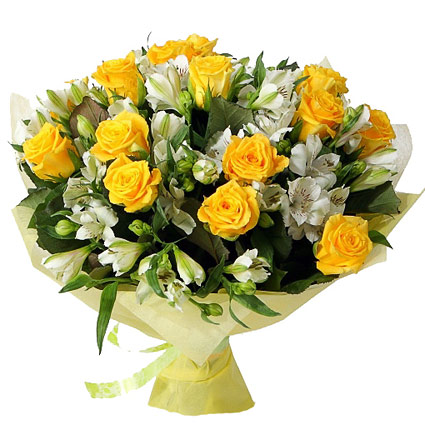 Flowers in Riga. Abundant bouquet of 13 yellow roses and 14 white  alstroemerias in decorative packaging.