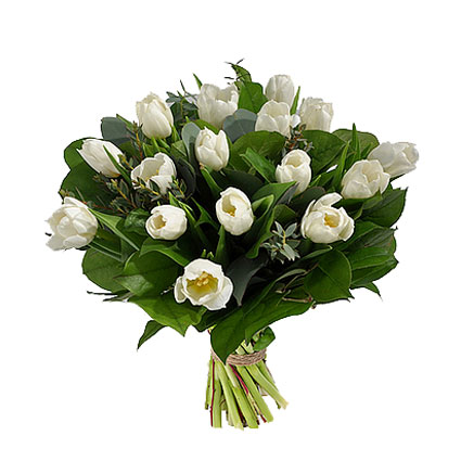 Flower delivery. Flower bouquet of 17 white tulips with refreshing accents of eucalyptus foliage.