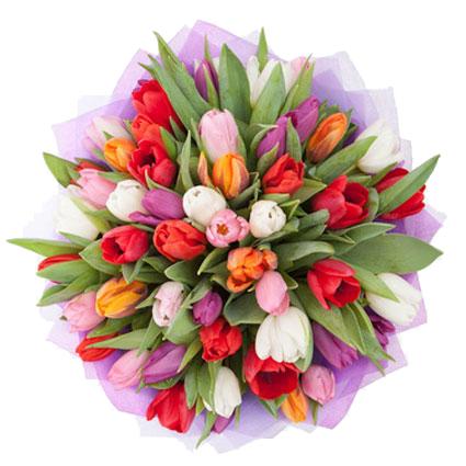 Ziedi. Pušķī 45 vai 29 sarkanas, violetas, rozā, baltas un oranžas tulpes.  Ziedu klāsts ir ļoti plašs. Var gadīties, ka