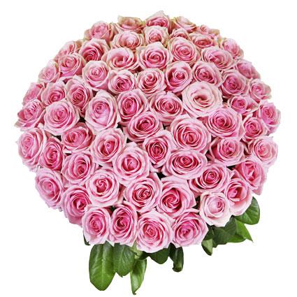 Ziedu piegāde. Pušķis no 55 rozā vidēja garuma rozēm.  Ziedu klāsts ir ļoti plašs. Var gadīties, ka izvēlētie ziedi var