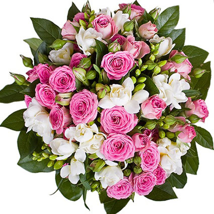 Ziedi Rīga. Ziedu pušķis rozā un baltos toņos. Sastāvs: rozā rozes un krūmrozes,  baltas frēzijas,  baltas alstromērijas,