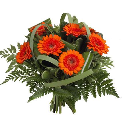 Flowers in Riga. Bouquet of orange-red gerberas and decorative foliage.