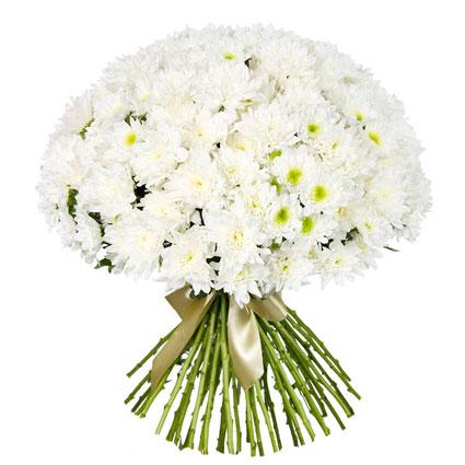 Ziedi ar piegādi. Apjomīgs ziedu pušķis no 45 baltām krizantēmām.  Ziedu klāsts ir ļoti plašs. Var gadīties, ka izvēlētie