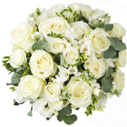 Flower delivery Riga. Sophisticated and charming bouquet of white flowers. White roses and white freesias with accents of