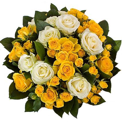 Ziedi Latvijā. Saulains rožu pušķis no baltām, dzeltenām rozēm, dzeltenām krūmrozēm un dekoratīviem zaļumiem.  Ziedu