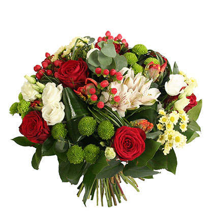 Flower delivery. Bright  bouquet of red roses, green and white chrysanthemums, white lizianthus, alstroemeria and decorative