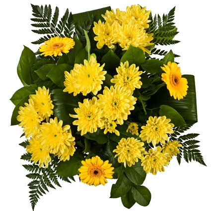 Flowers in Riga. Bouquet of yellow gerberas, yellow chrysanthemums and decoratve foliage.
