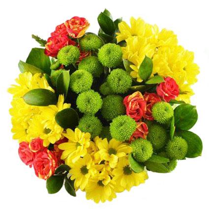 Ziedu piegāde. Spilgti krāsu akcenti pušķī no oranži dzeltenām krūmrozēm, dzeltenām un zaļām krizantēmām.  Ziedu klāsts ir