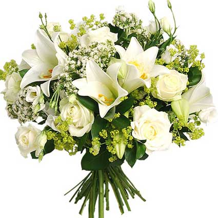 Flower delivery Latvia. Floral bouquet of white lilies, white roses, white lisianthus, baby breath and decorative foliage.