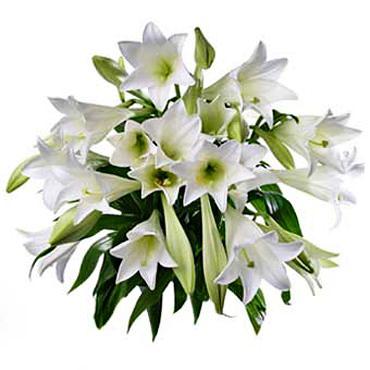 Ziedi. Ziedu pušķī 3 vai 5 baltas lilijas.   Ziedu klāsts ir ļoti plašs. Var gadīties, ka izvēlētie ziedi var nebūt