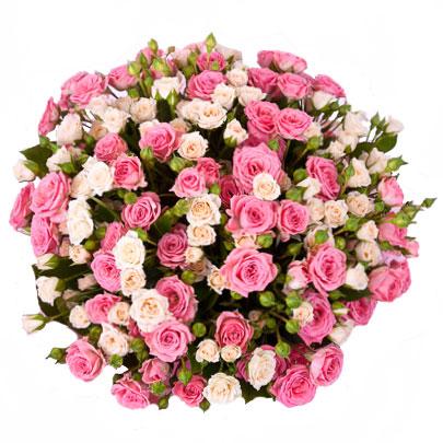 Ziedi Rīga. 25 krūmrozes dažādu nokrāsu rozā toņos šarmantā pušķī.  Ziedu klāsts ir ļoti plašs. Var gadīties, ka izvēlētie