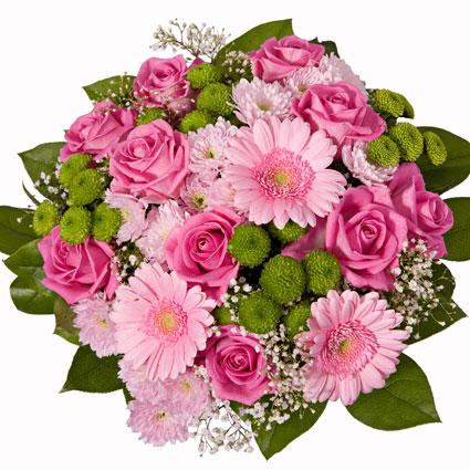 Ziedi ar kurjeru. Burvīgs ziedu pušķis košos toņos priecēs laimīgo saņēmēju.Pušķis no rozā gerberām, rozēm, rozā un zaļām