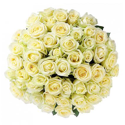 Ziedi Latvijā. Greznajā pušķī 51 balta roze. Rožu garums 60 cm.  Ziedu klāsts ir ļoti plašs. Var gadīties, ka izvēlētie