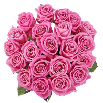 Ziedu pušķī 21 rozā roze. Rožu garums 50-60 cm. Ziedu piegāde Rīgā.