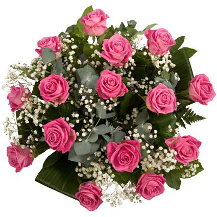 Ziedi un to piegāde. 15 rozā rozes ar baltiem smalkziediem un dekoratīviem zaļumiem. Rožu garums 50 cm.  Ziedu klāsts ir