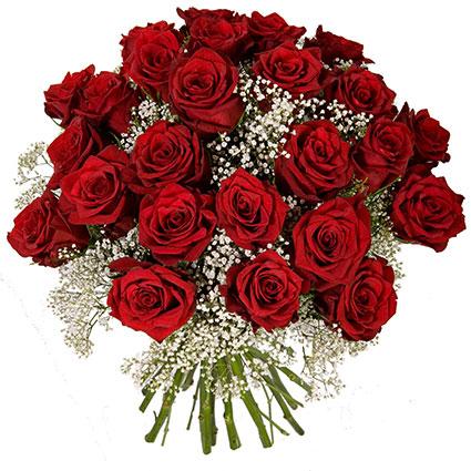 Ziedi Rīga. Brīnišķīgajā  pušķī 15 vai 29 sarkanas 60 cm garas rozes un balta plīvurpuķe.  Ziedu klāsts ir ļoti plašs. Var