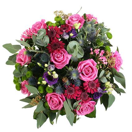 Ziedu pušķis Ūdensvīra zodiaka krāsu paletes noskaņās, iespējama ziedu piegāde