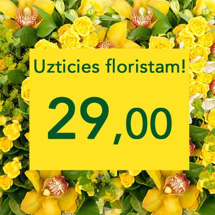 Ziedu pušķis dzeltenos toņos