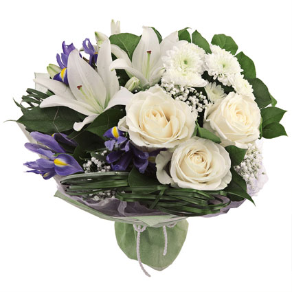 Flower delivery Latvia. Bouquet of white roses, lilies, white chrysanthemums, blue irises, white baby`s breath and