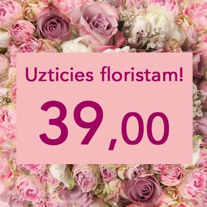 Ziedi ar kurjeru. Uzticies floristam! Izveidosim skaistu pušķi rozā toņos izvēlētās summas ietvaros. Pārsteigums un prieks