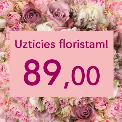 Ziedi ar piegādi. Uzticies floristam! Izveidosim skaistu pušķi rozā toņos izvēlētās summas ietvaros. Pārsteigums un prieks