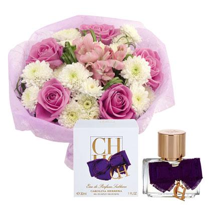 Flowers Bouquet And Perfume Carolina Herrera CH Eau De Parfum Sublime 30 ml