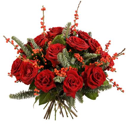 Ziedi ar piegādi. Sarkanu rožu pušķis ar dekoratīvām sārtām ogām un zaļumiem. Pušķī 15 sarkanas vidēja garuma rozes.