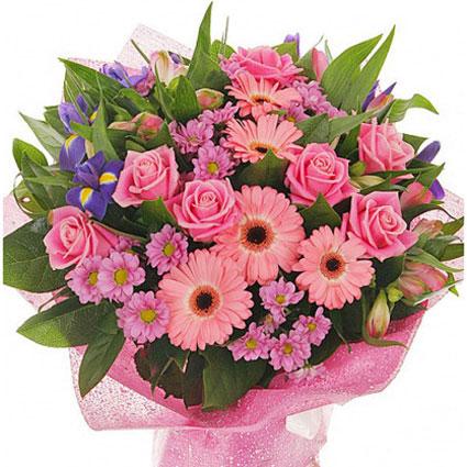 Ziedi ar piegādi. Grezns ziedu pušķis. Sastāvs: rozā gerberas, rozā rozes, rozā krizantēmas, zili īrisi, rozā