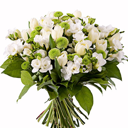 Flowers on-line. Bouquet of white freesias, white tulips and green chrysanthemums.