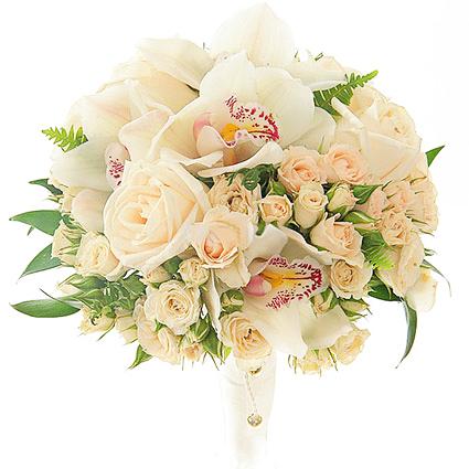 Ziedu piegāde Latvijā. Līgavas pušķis no rozā sprejrozēm un baltiem orhideju ziediem.