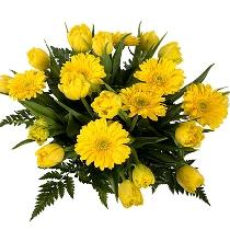 Dzeltenu ziedu pušķis optimismam