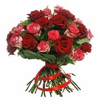 Tango. Sarkanu un rozā rožu pušķis