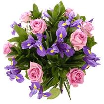 Цветы: Розовые розы и синие ирисы