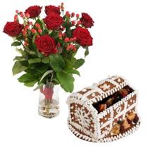 Sarkanas rozes un piparkūku lādīte ar sukādēm. Ziedu piegāde Rīgā
