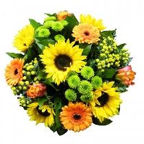 Saulains ziedu pušķis