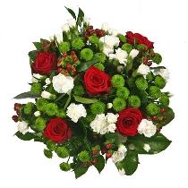Ziedu pušķis ar rozēm un krizantēmām: Akcenti